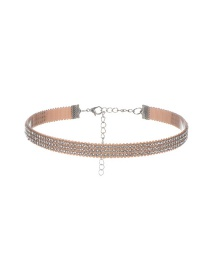 Vintage Champagne Round Shaope Diamond Decorated Simple Wide Choker