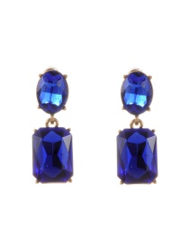 Trendy Sapphhire Blue Pure Color Decorated Geometric Shape Simple Earrings