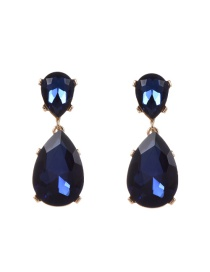 Fashion Dark Blue Water Drop Shape Diamond Decorated Pure Color Earrings