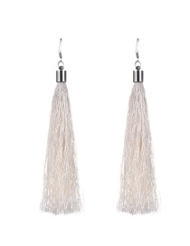 Bohemia Beige Pure Color Decorated Simple Tassel Earrings