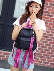 Fashion Plum Red Letter Pattern Decorated Pure Color Simple Backpack
