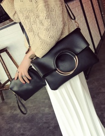 Fashion Black Circular Ring Decorated Pure Color Shoulder Bag (2pcs)