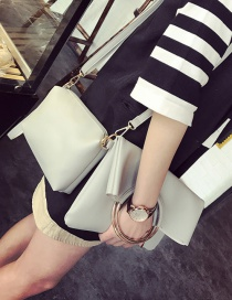 Fashion Gray Circular Ring Decorated Pure Color Shoulder Bag (2pcs)