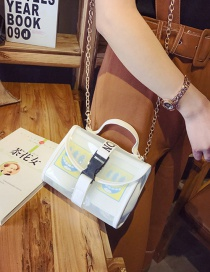 Fashion White Cartoon Pattern Decorated Pure Color Shoulder Bag