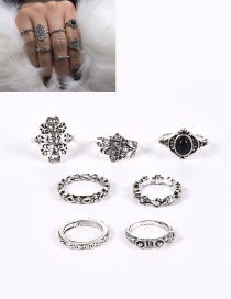 Fashion Silver Color Flower Pattern Decorated Pure Color Simple Ring(7pcs)