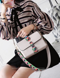 Fashion Beige Rivet Decorated Color Matching Simple Design Shoulder Bag