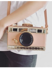 Fashion Pink+red Camera Shape Decorated Color Matching Shoulder Bag