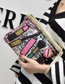 Fashion Gold Color Sequins Decorated Color Matching Simple Shoulder Bag