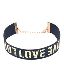 Sexy Gold Color Letter Love Pattern Decorated Simple Choker