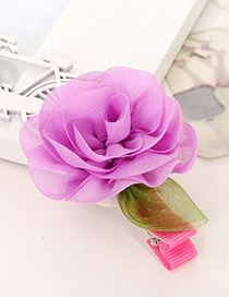 Fashion Purple Pure Color Flower Shape Decorated Simple Baby Hairpin