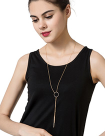 Trendy Gold Color Circular Ring Decorated Pure Color Simple Necklace