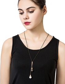 Fashion Black Diamond&pearl Decorated Pure Color Simple Necklace