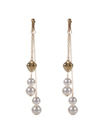 Trendy Gold Color Heart&pearl Decorated Pure Color Simple Long Earrings