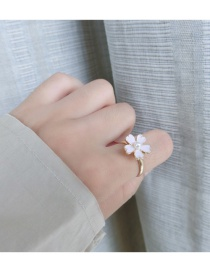 Fashion Pink Flower&pearl Decorated Pure Color Simple Ring