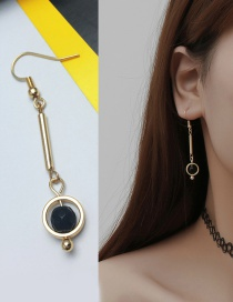 Elegant Gold Color Diamond&circular Ring Decorated Color Mathcing Earring (1pc)