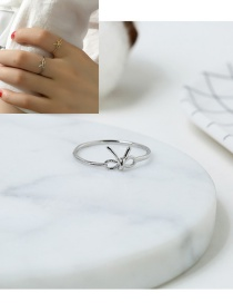 Elegant Silver Color Bowknow Decorated Pure Color Simple Ring