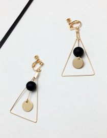 Elegant Gold Color +black Color Matching Decorated Triangle Shape Earrings