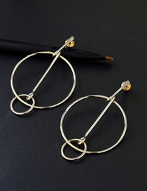Elegant Gold Color Pure Color Decorated Circular Ring Design Earrings