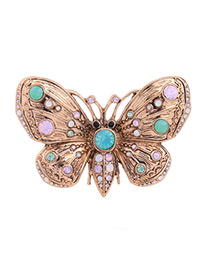 Fashion Gold Color Butterfly Shape Decorated Color Matching Simple Brooch