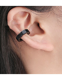 Fashion Black Circular Ring Decorated Pure Color Simple Ear Clip (1pcs)