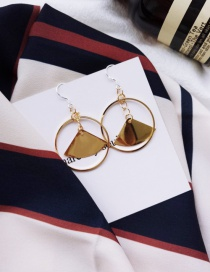 Fashion Gold Color Pure Color Decorated Circular Ring Design Earrings