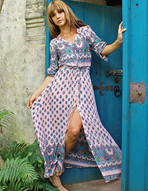 Fashion Pink Flower Pattern Decorated Color Matching Long Slit Dress