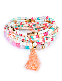 Trendy Multi-color Bead Decorated Tassel Design Pure Color Simple Bracelet