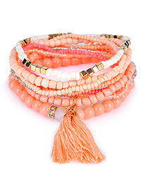 Trendy Orange Bead Decorated Tassel Design Pure Color Simple Bracelet