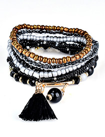 Fashion Black Bead&tassel Decorated Multi-layer Design Simple Bracelet