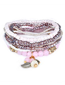 Fashion Purple Leaf&bead Decorated Multi-layer Design Simple Bracelet