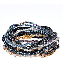 Fashion Black] Leaf&bead Decorated Multi-layer Design Simple Bracelet