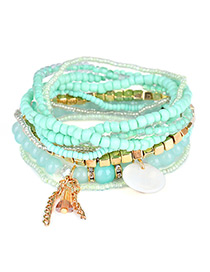 Fashion Green Diamond&bead Decorated Multi-layer Design Simple Bracelet