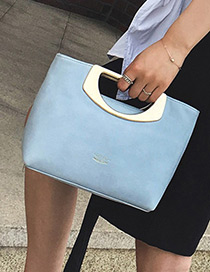 Fashion Blue Semicircle Shape Decorated Pure Color Simple Handbags