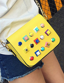 Fashion Yellow Rivet Decorated Color Matching Simple Design Shoulder Bag