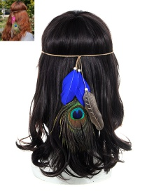 Fashion Sapphire Blue Feather Decorated Color Matching Simple Headband