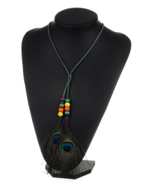 Fashion Blue Feather&beads Decorated Color Matching Simple Necklace