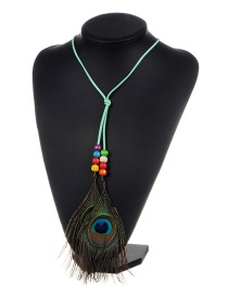 Fashion Light Green Feather&beads Decorated Color Matching Simple Necklace