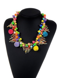 Fashion Multi-color Pom Pom Ball Decorated Color Matching Simplenecklace