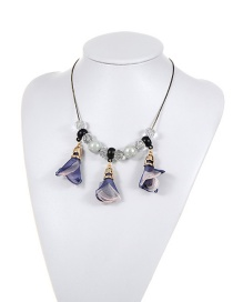 Fashion Purple Flower&beads Decorated Color Matching Simple Necklace