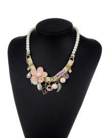 Fashion Beige Flower&beads&leaf Decorated Color Matching Simple Necklace