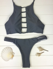 Sexy Gray Bandage Decorated Pure Color Simple Swimwear