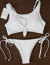 Sexy White Bandage Decorated Pure Color Simple Split Swimwear