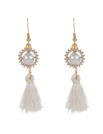 Bohemia Beige Round Shape Decorated Simple Tassel Design Earrings