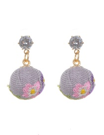 Bohemia Light Purple Rose Decorated Simple Short Chain Earrings