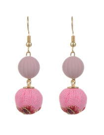 Bohemia Pink Rose Decorated Double Fuzzy Ball Design Earrings
