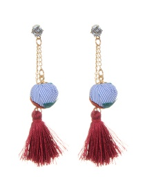 Vintage Claret-red Fuzzy Ball Decorated Simple Tassel Earrings