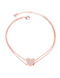 Fashion Rose Gold Heart Shape Decorated Simple Double Layer Necklace