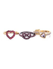 Fashion Multi-color Heart Shape Decorated Simple Rings(3pcs)