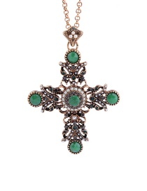 Vintage Green Hollow Out Cross Pendant Decorated Simple Necklace