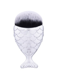 Trendy Multi-color Mermaid Shape Decorated Pure Color Cosmetic Brush